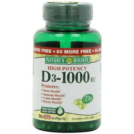 Nature's Bounty Bounty D-1000 UI Complément alimentaire rapide libération de liquide 350 gélules ea (Paquet de 4)