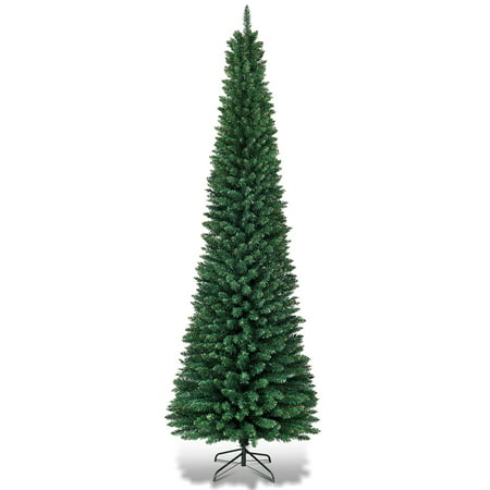 Topbuy 9' PVC Artificial Slim Christmas Tree Pencil Shape Home Holiday Decor Green ()