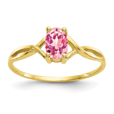 Style Ring - 10kt Yellow Gold Pink Tourmaline Birthstone Band Ring Size 7.00 Stone October Oval Style Fine Jewelry Ideal Gifts For Women Gift Set From Heart