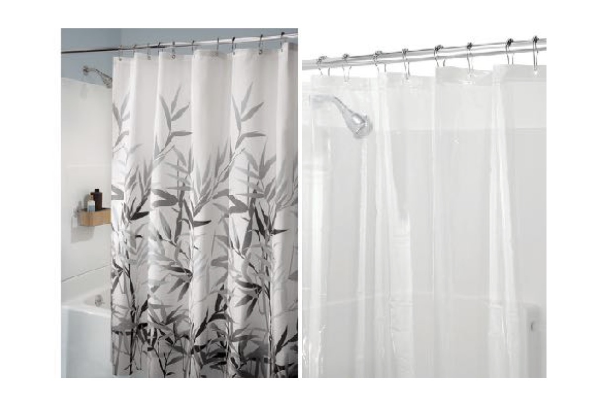 Interdesign Set Anzu Bamboo Fabric Shower Curtain Peva 3 Liner 72 X 72 Walmart Com Walmart Com