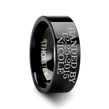 Thorsten Duck Band Style Custom Engraved Black Tungsten Ring Flat