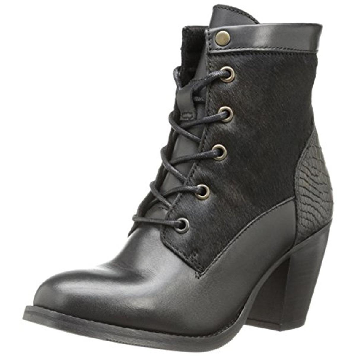 Bronx Womens Mar Laina Leather Fur Combat Boots by Bronx