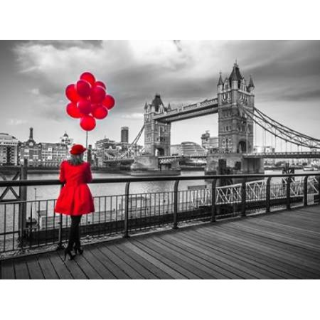 Woman with red balloons standing on promenade near Tower Bridge London UK Poster Print by Assaf Frank (11 x - Balloon Towers