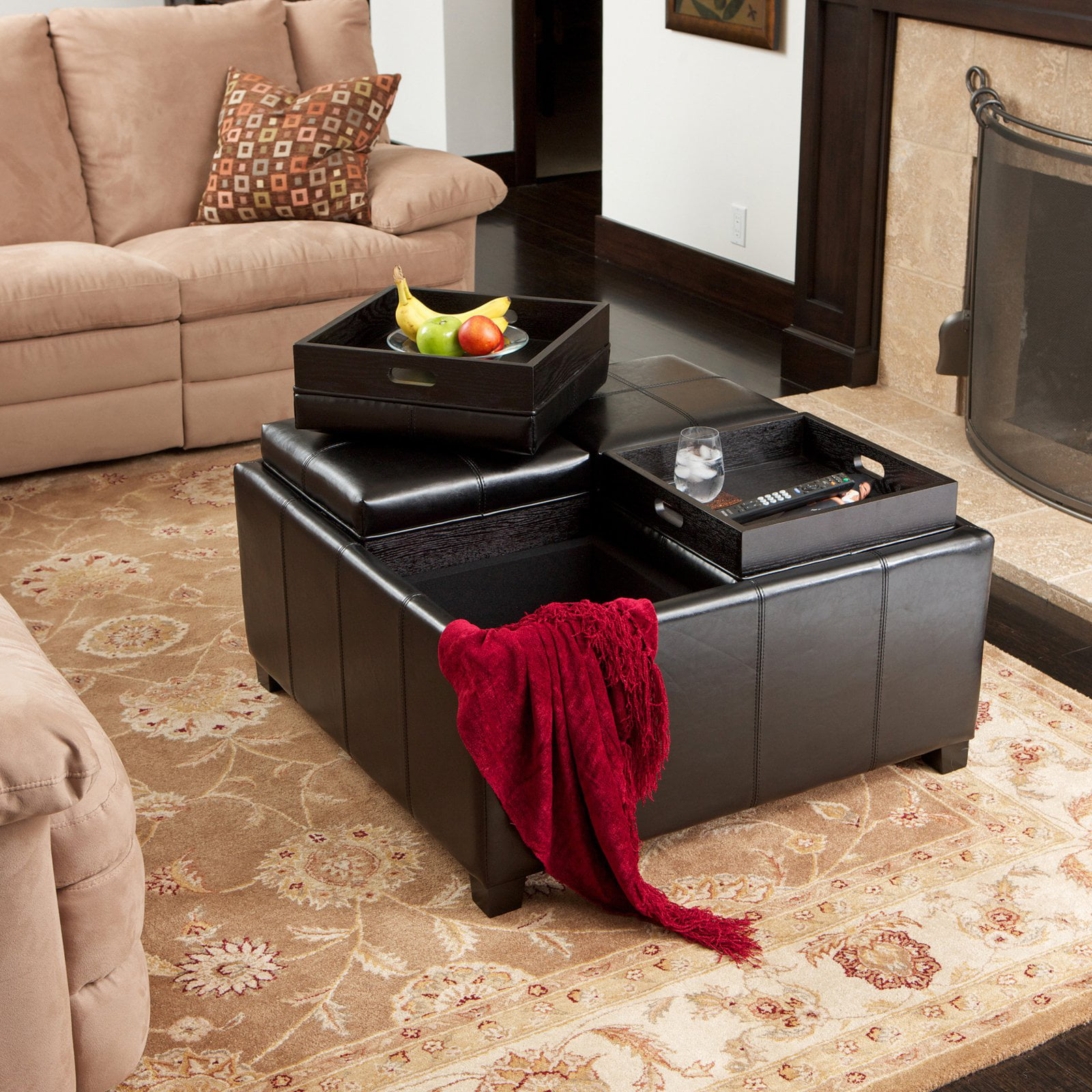Dartmouth Four Sectioned Leather Cube Storage Ottoman