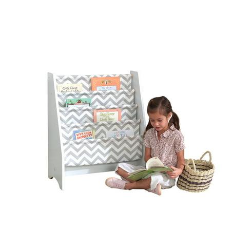 KidKraft Wooden Sling Bookshelf Bookcase Playroom Organizer, Gray and White