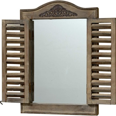French Country Style Rustic Window Mirror with Shutters, Sustainable Wood, Approx. 18 Inches High, Distressed Gray Wash with Vintage Style Metal Decoration ()
