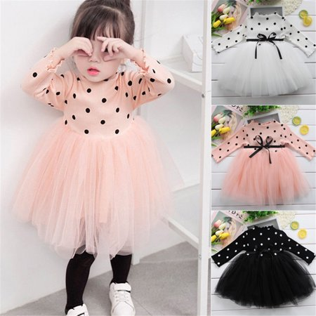Girl Long Sleeve Polka Dot Princess Tutu Dress Kids Baby Casual Party Dresses Pink 0-6