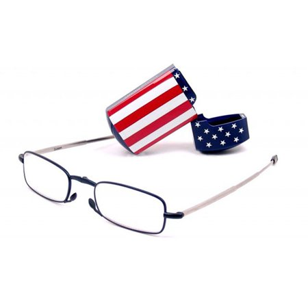 Foster Grant Microvision Folding Reading Glasses W Usa Flag Hard Case