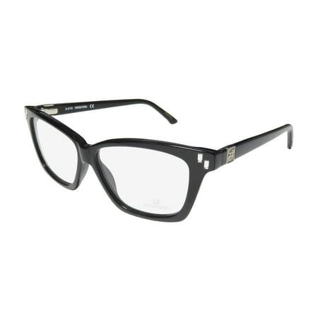 New Daniel Swarovski Clyde Sw 5070 Womens/Ladies Cat Eye Full-Rim Black Cat Eyes Strass Trendy Frame Demo Lenses 54-12-140 Strass Flexible Hinges Eyeglasses/Eye Glasses (Daniel Swarovski)