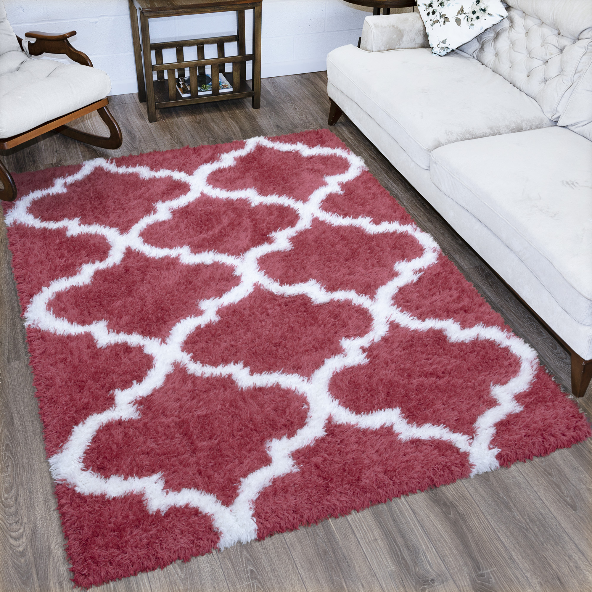 Ottomanson Flokati Collection Faux Sheepskin Trellis Shag Area or Runner Rug