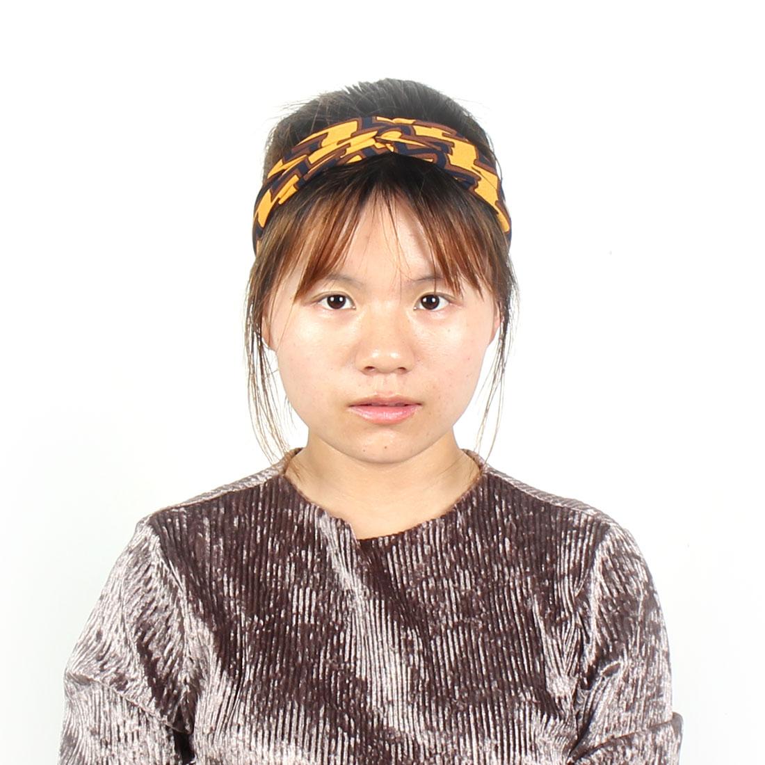 Women Polyester Floral Print Elastic Scarf Turban Headdress Headband Hairhoop