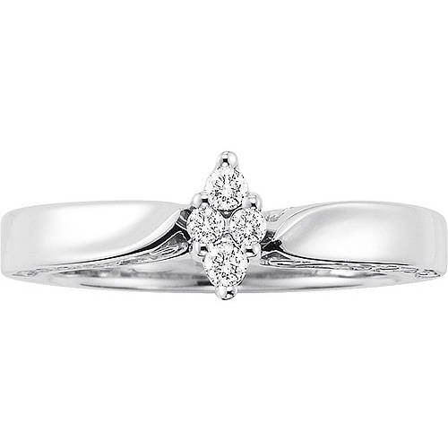 Women's 1/8 Carat T W  Diamond Sterling Silver Engagement Ring