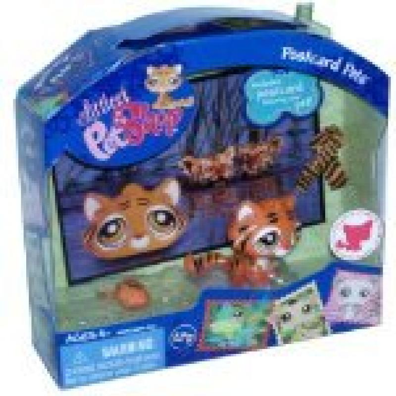 Littlest Pet Shop Postcard Pets Series Portable Bobble Head Pet Figure Gift Set #905 - Tiger with Mouse Toy, Scarf and Postcard