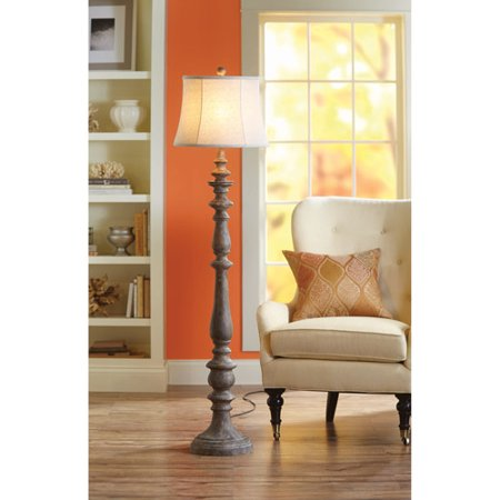 Better Homes and Gardens Rustic Floor Lamp, Distressed Wood ...