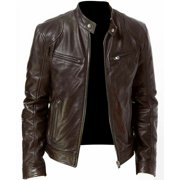 Men PU Leather Jacket Black Brown Slim Fit Outdoor Windproof Biker Jacket Male Fashion Zipper Solid Coat