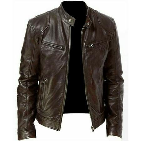 Winter Warm Genuine Black;Brown Leather Jacket Men Slim fit Biker Motorcycle Wholesale Leather Biker Jacket