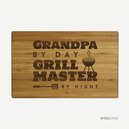 Andaz Press Laser Engraved Small Bamboo Wood Cutting Board, 9.5 x 6-inch, Grandpa by Day Grill Master By Night, - Laser Cutting Michigan