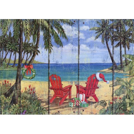 LPG Greetings Two Red Adirondack Chairs on Beach: Paul Brent Tropical Christmas Card Choir Christmas Card