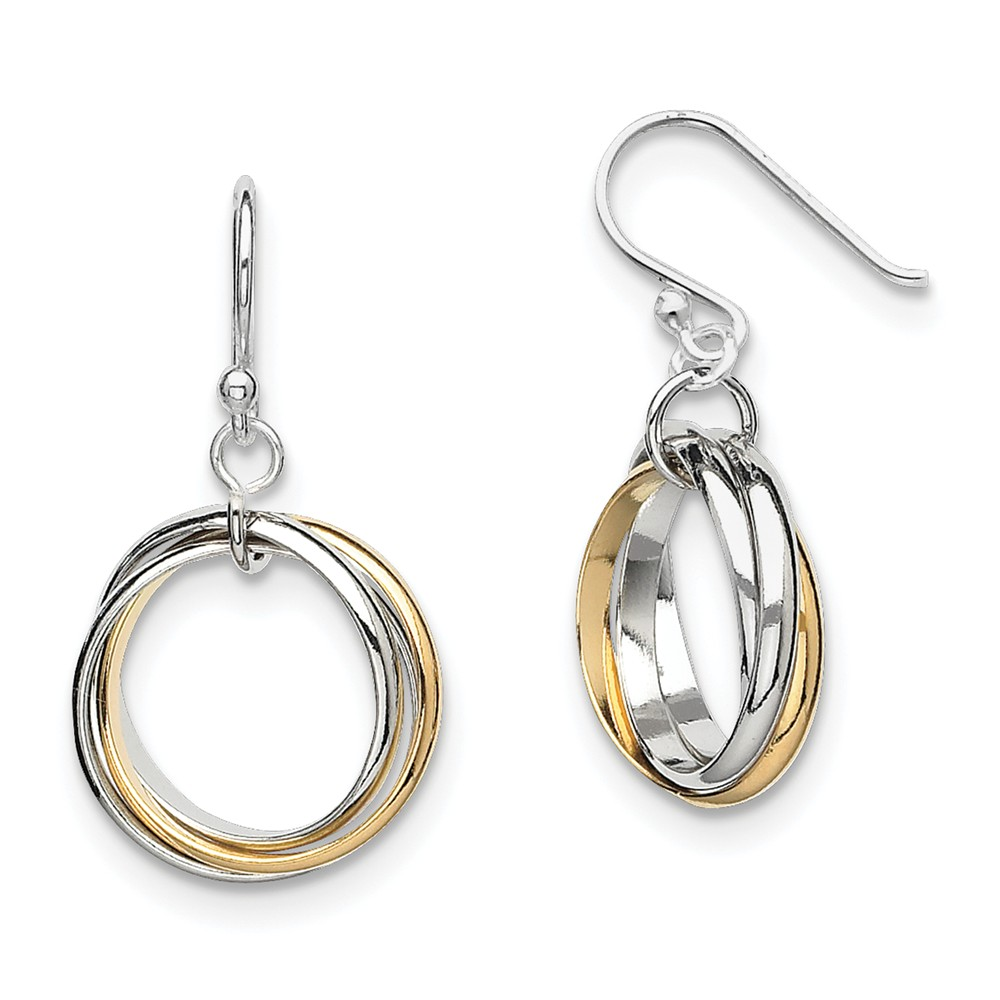 Sterling Silver Gold-Plated Triple Circle Dangle Earrings (1.1IN x 0.4IN )