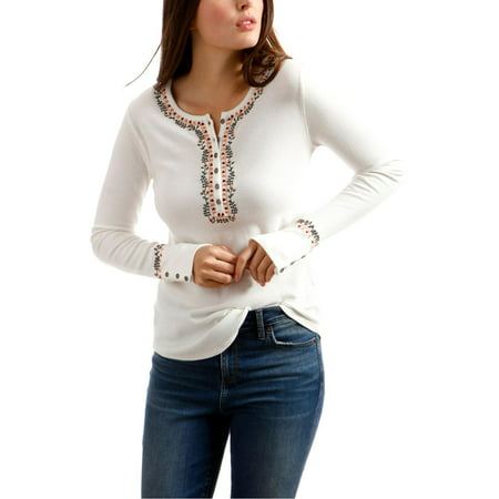 Lucky Brand Womens Novelty Embroidered Long Sleeves Henley Top