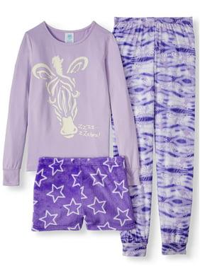 Jellifish Kids 3-Piece Pajama Sleep Set - Long Sleeve Pajama Top, Pant, Short(Little Girls & Big Girls)