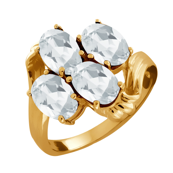 2.20 Ct Oval White Topaz Yellow Gold Plated Sterling Silver Ring