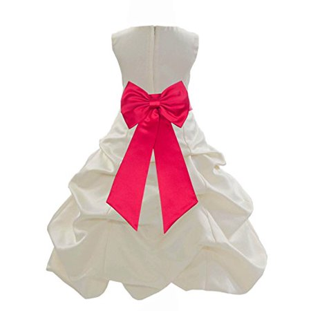Ivory Satin Pick-Up Bubble Formal Flower Girl Dress Recital Gown 808T