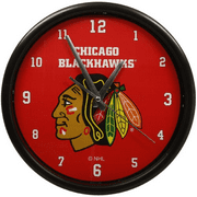 Chicago Blackhawks Black Rim Basic Clock - No Size