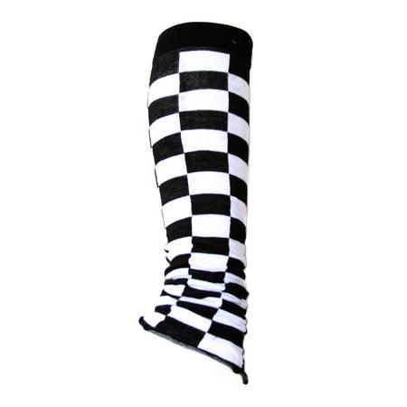 Women's Stretch Leg Warmer - Black and White Checker 2 PACK