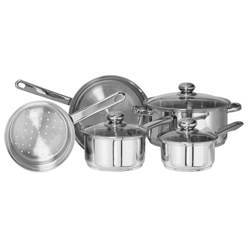 Kientic Go Green Classicor Stainless Steel Cookware 8-Piece Set with Glass Lid