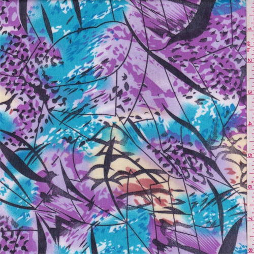 Purple/Aqua/Black Abstract Floral Print Chiffon, Fabric By the Yard