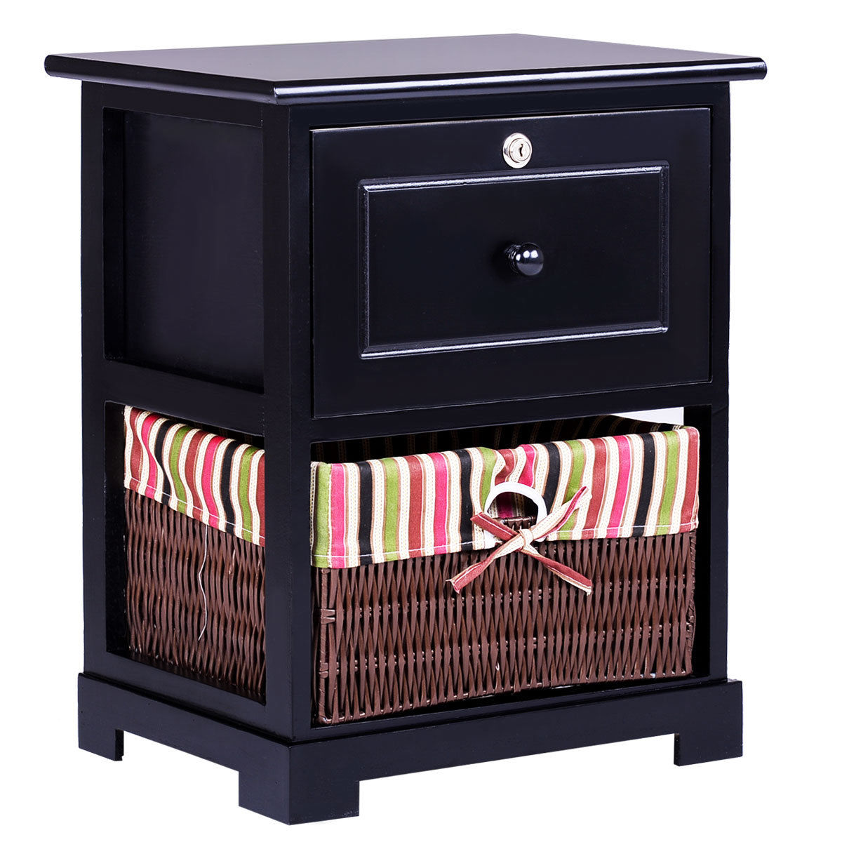 Gymax 2 Tiers Wood Nightstand1 Drawer Bedside End Table Organizer W/ Basket Black
