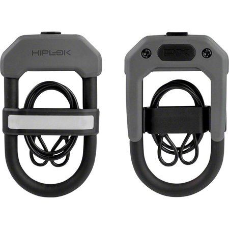 Hiplok DXC Wearable Hardened Steel Shackle U-Lock and Cable: 14mm, Gray