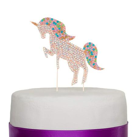 Ella Celebration Rainbow Unicorn Rhinestone Cake Topper Unicorn Cake Decorations for Birthday, Baby Shower, Events (Rose