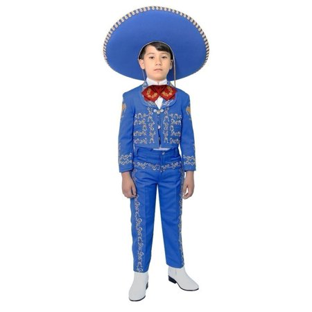 Little Boys Royal Blue Embroidered Mariachi Pants Jacket Hat Set