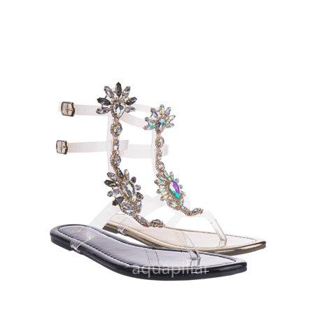 Marlo9 by Vigo Fiore, Lucite Clear Transparent Iridescent Flat Sandal w Rhinestone Crystal (Nine West Gold Dress Sandals)
