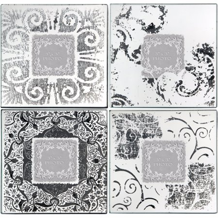 Wood & Glass Old Style Photo Frames, White and black, Set of (Women's Glass Frames Styles)