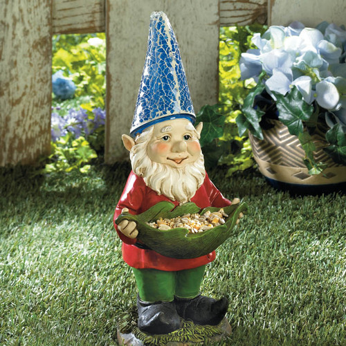 Zingz & Thingz Birdfeeder Gnome Solar Statue by Home Locomotion