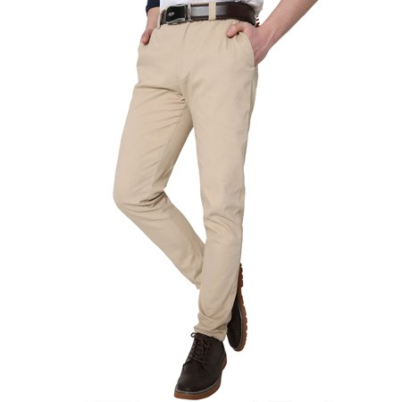 Unique Bargains Men Front Chino Pockets Slim-Tapered Flat Classic Stylish Pants
