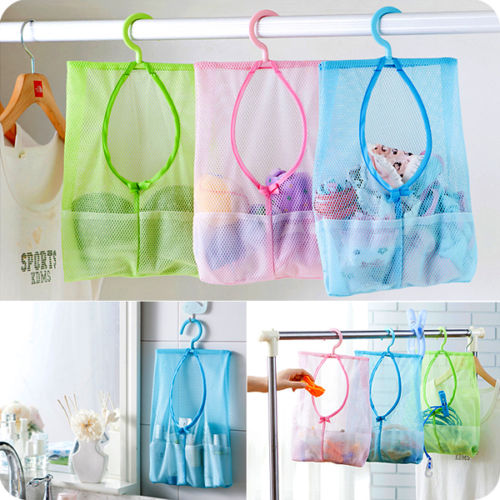 YOSOO Kitchen Multipurpose Clothespin Bag Bathroom Hanging Storage Clothespin Mesh Bag Space Saver Bags Hanging Mesh Bag Organizer Hanger Hook(Blue)