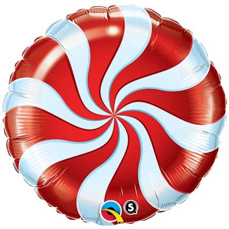 Qualatex Christmas Candy Cane Swirl Round 18