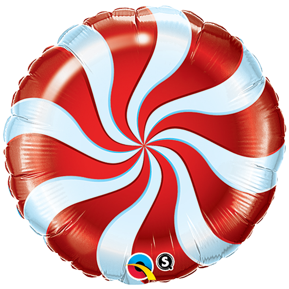 "Qualatex Christmas Candy Cane Swirl Round 18"" Foil Balloon, Red White"