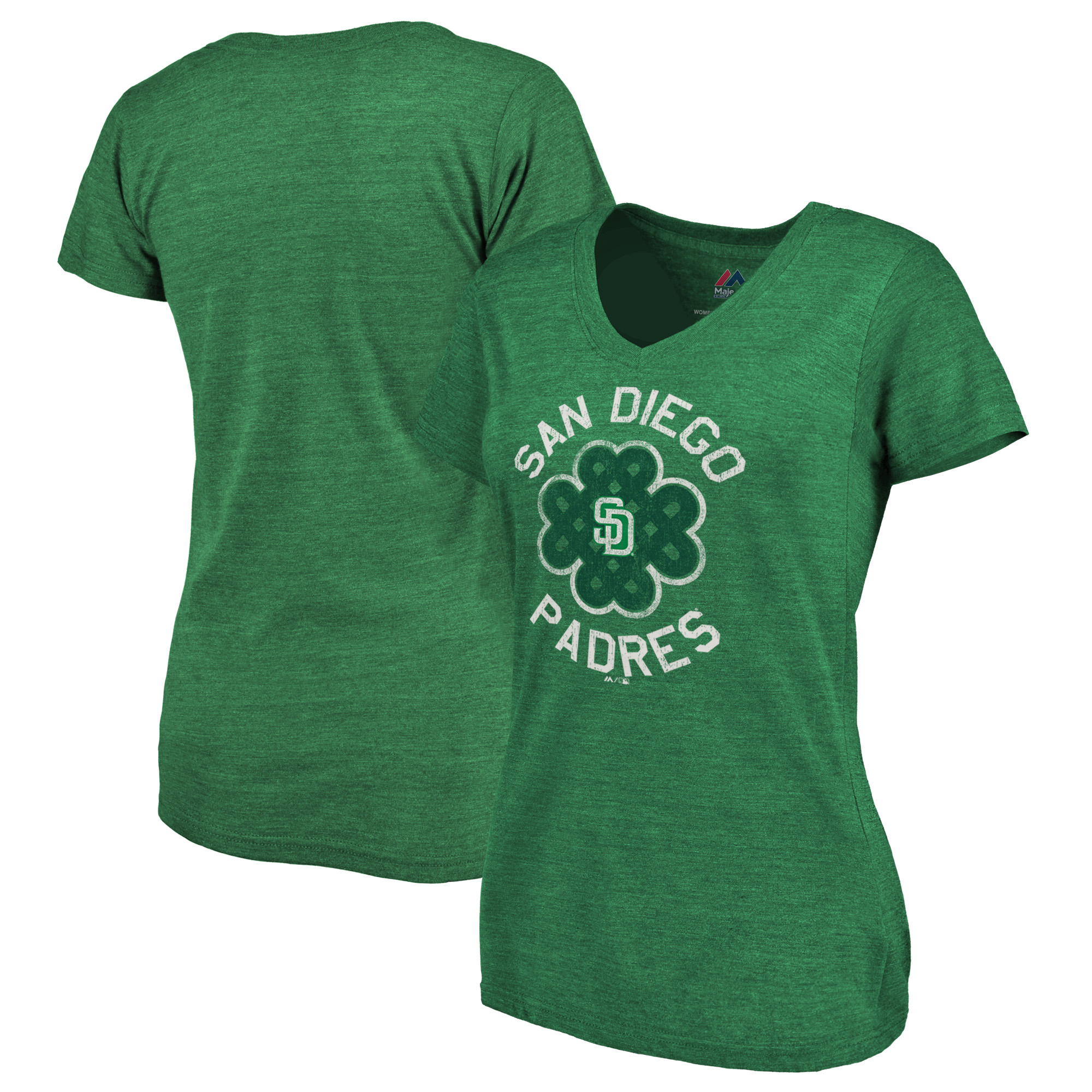 San Diego Padres Majestic Women's Luck Tradition Tri-Blend V-Neck T-Shirt - Green