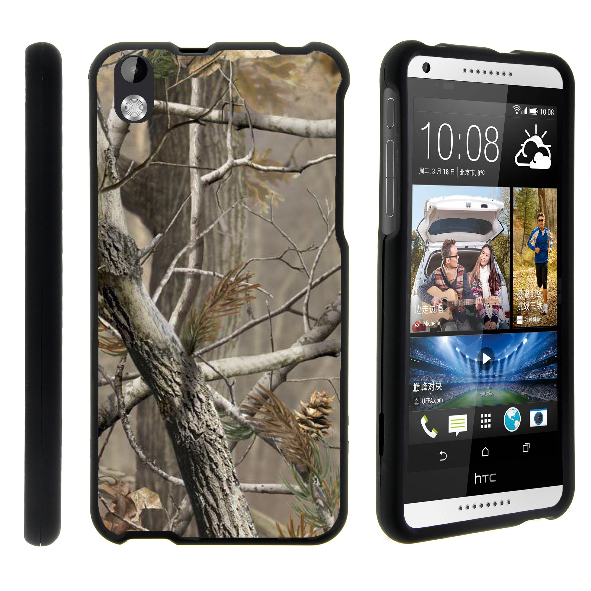 HTC Desire 816, [SNAP SHELL][Matte Black] 2 Piece Snap On Rubberized Hard Plastic Cell Phone Cover with Cool Designs - Hunter Camouflage