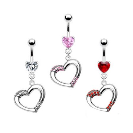 Heart Belly Ring With Dangling Jeweled Heart Red