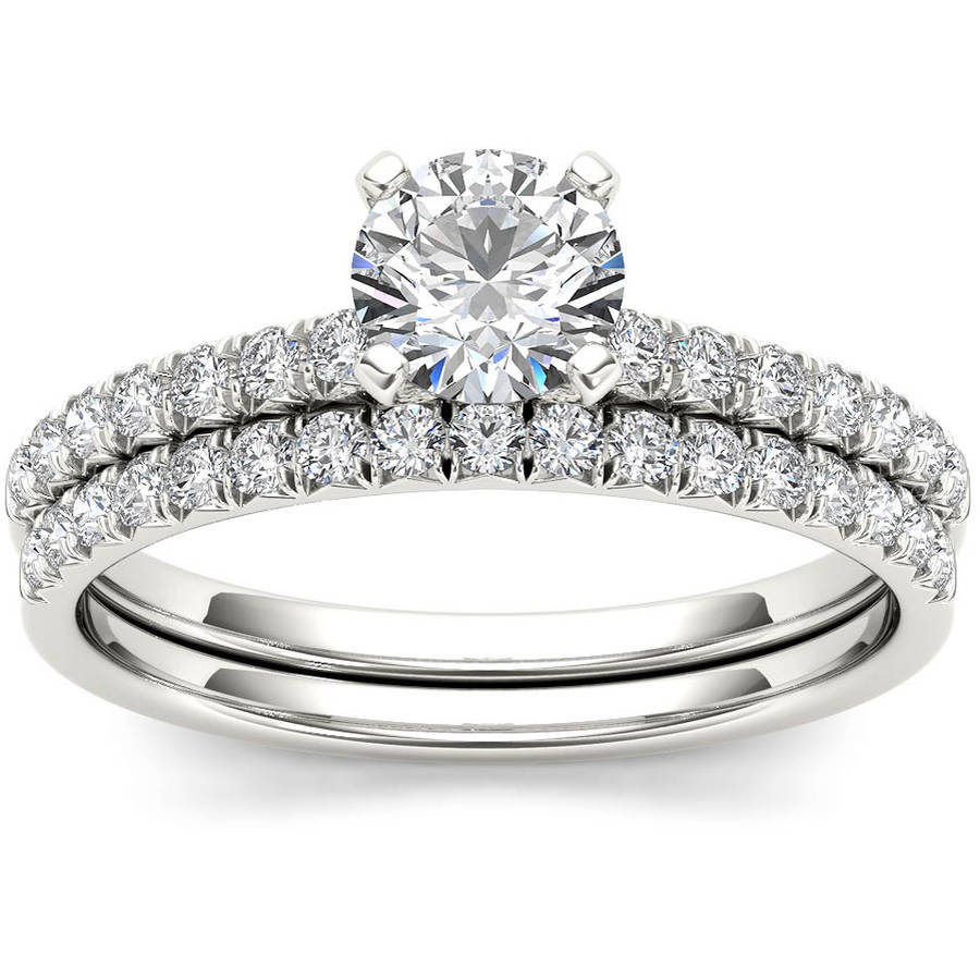 Imperial 1 Carat T.W. Diamond Classic 14kt White Gold Engagement Ring Set