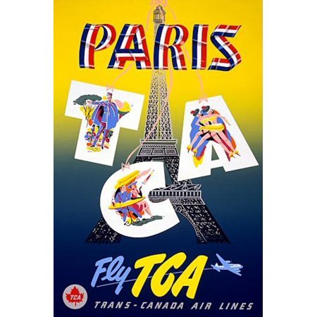 Paris Fly Tca Trans Canada Air Lines Travel Canvas Art     24 X 36