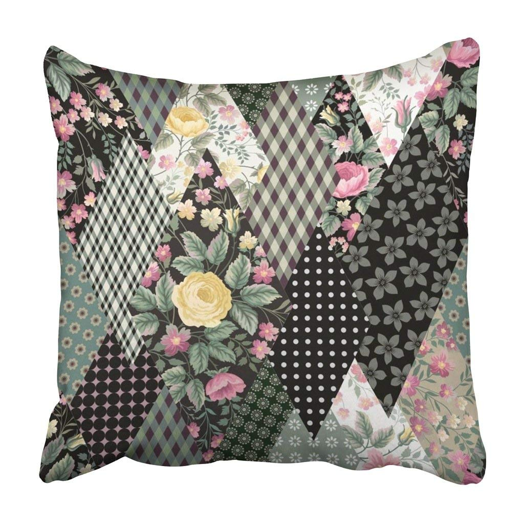 WOPOP Black Flower Floral Patchwork Pattern With Roses White Check Vintage Blossom Brunch Pillowcase Cover 16x16 inch