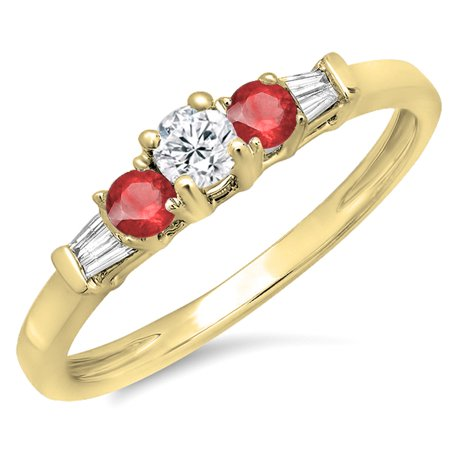 Dazzlingrock Collection 14K Round & Baguette Cut Ruby & White Diamond 3 Stone Engagement Bridal Ring, Yellow Gold, Size 7 Baguette Cut Diamond Engagement Ring