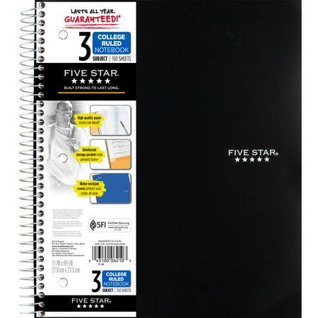 Five Star Wirebound Notebook, 3 Subject, College Ruled, 11u0022 x 8 1/2u0022, Black (820003UT0-WMT-MOD)